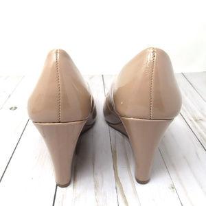 Merona Shoes - Merona Tan or Nude Wedge Pumps Patent Finish Sz 9